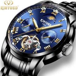 2018 wysokiej jakości wydrążone automatyczne mechaniczne mężczyźni oglądać najlepsze marki luksusowe wodoodporne męskie zegarki ze stali nierdzewnej