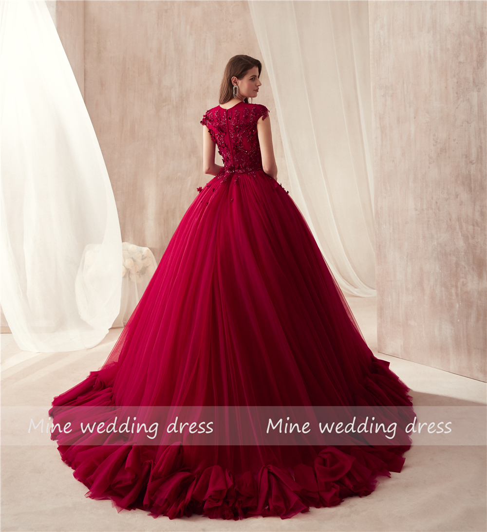 2018 O neck Ball Gowns Burgundy Wedding Dress with Color 3D Flowers ... df15ea3c2d1e