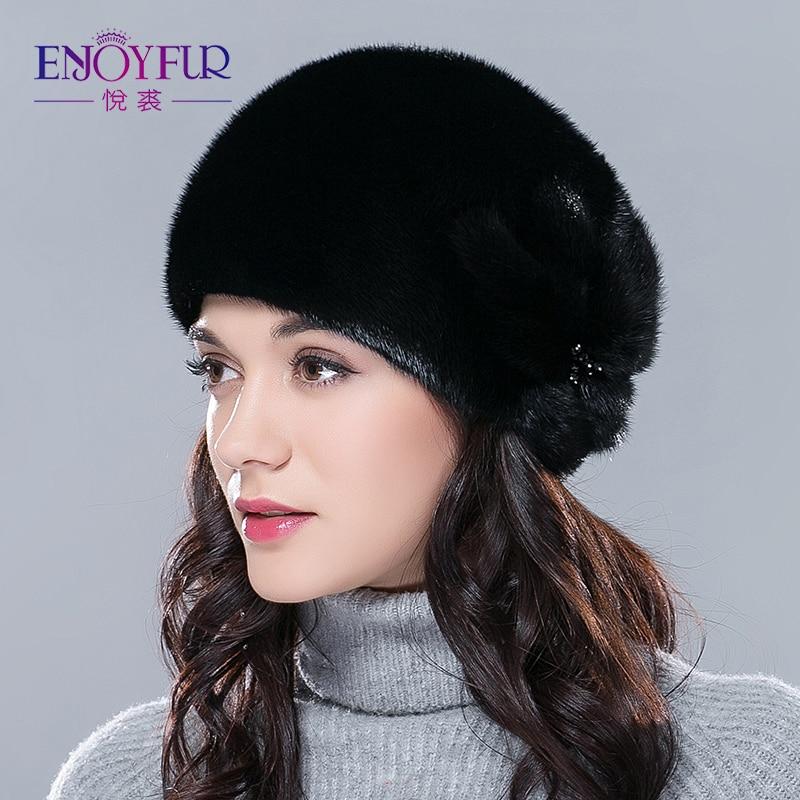 Women Fur Hat For Winter Whole Real Mink Fur Cap Flower Pattern Luxury Fashion Female Mink Beanies Good Quality Free Size