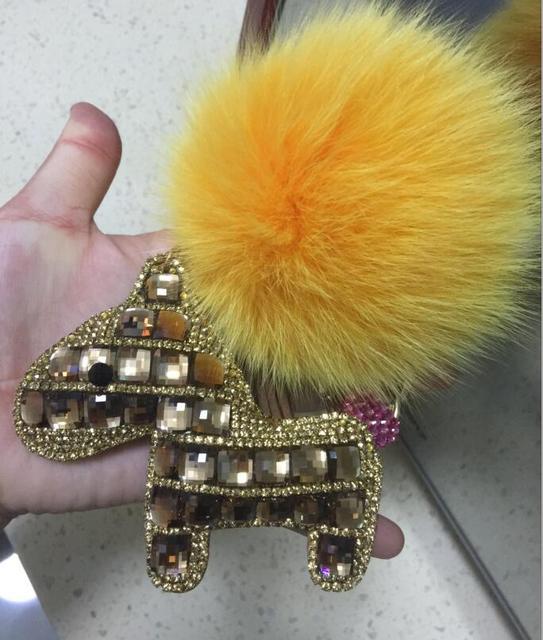 Oro Brillante Caballo Llaveros de Oro Pompones Bola de piel de Zorro Grande Soplos Glitter llaveros Llavero