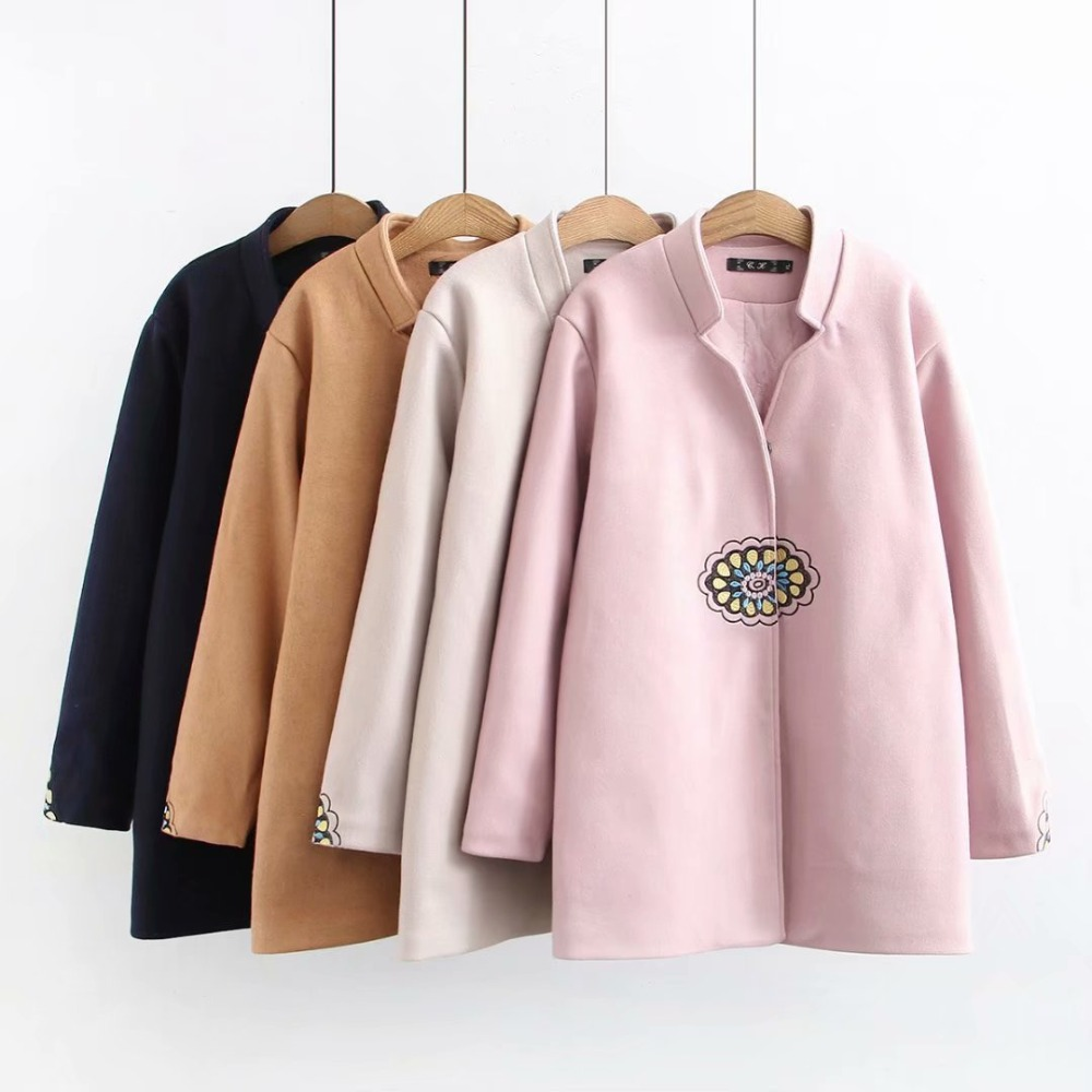 Plus size Embroidery wool blends women coat 2019 casual ladies warm jackets female in winter pink