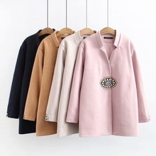 Plus size Embroidery wool blends women coat 2019 casual ladi