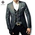2016 Nova Men Plaid Vestido Ternos Blazers e Jaquetas Herren Anzug homens Moda Casual Slim Fit Manga Comprida Veste De Loisir Masculino