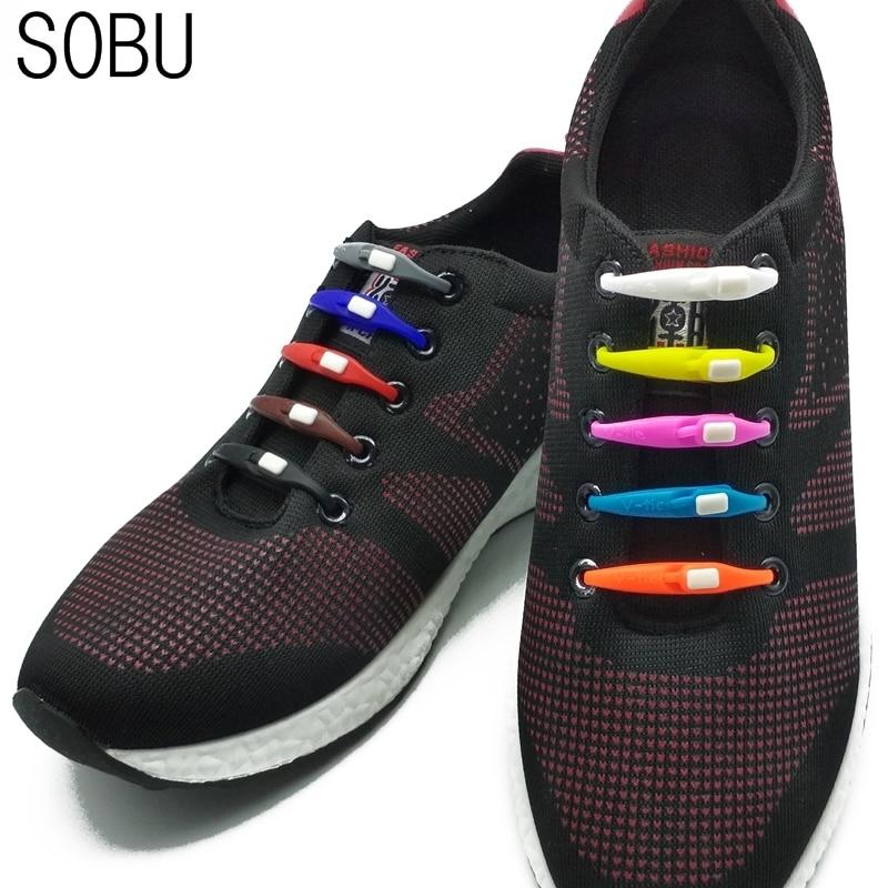 12pcs/lot newest elastic silicone shoelaces running athletic no tie shoe laces lazy flat ribbon sneaker shoelaces P000 siketu 12pcs novelty unisex no tie shoelaces silicone elastic sneaker lazy shoe laces jn6 y20