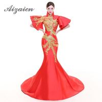 Red Embroidery Phoenix Trailing Oriental Evening Party Dresses Woman Cheongsam Halter Qipao Chinese Dress Vestido Chines Robe