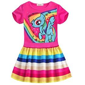 Petit poney été à manches courtes fille princesse tenue décontractée mignon dessin animé motif bébé fille rayé enfant robe Vestidos vêtements
