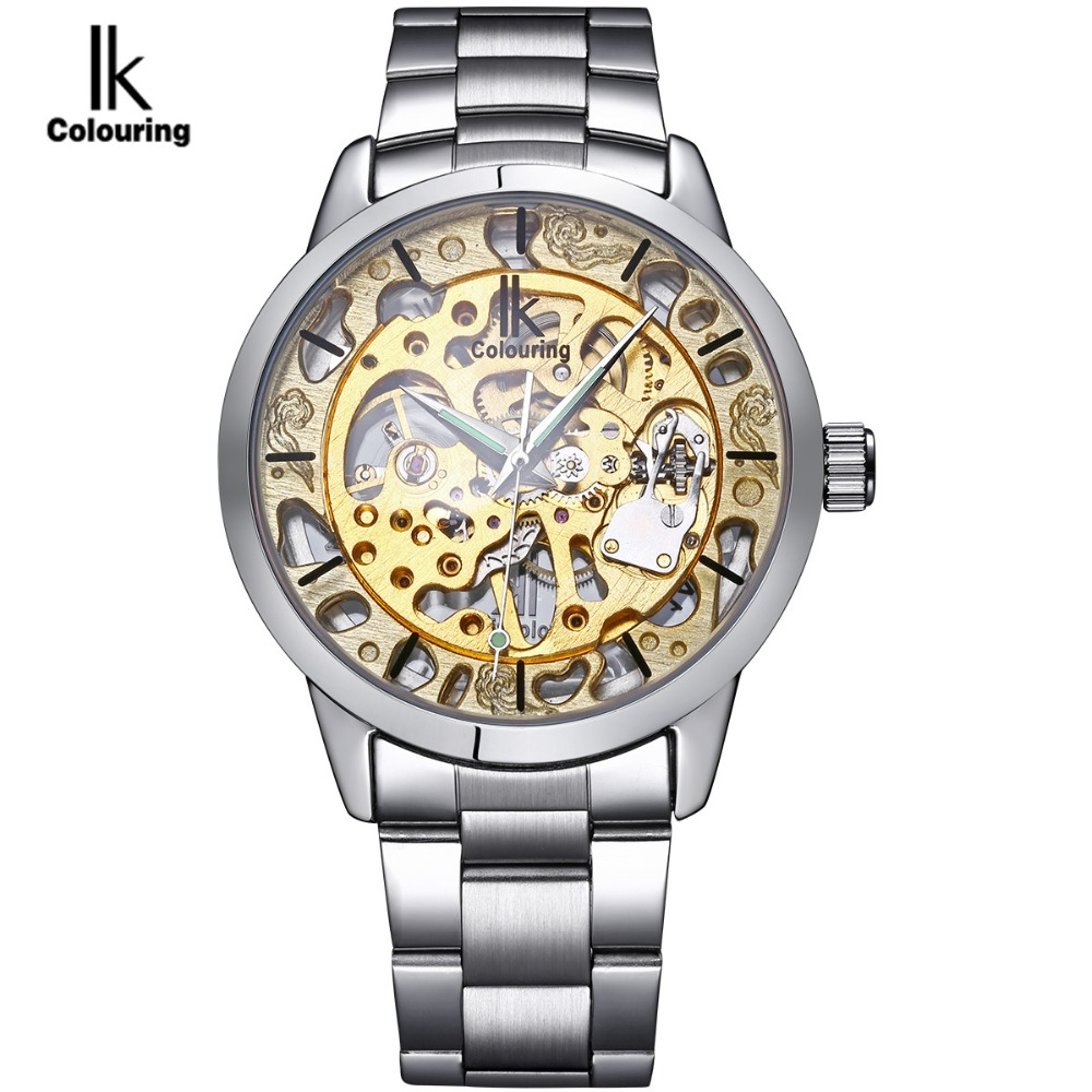 IK colouring Luxury Brand Mechanical Hand Wind Watch Men Gold Skeleton Business Dress Silver Steel Watches Male Clock relogio men luxury brand casual gold full steel band skeleton automatic self wind mechanical hand wind goden relogio for man wrist watch
