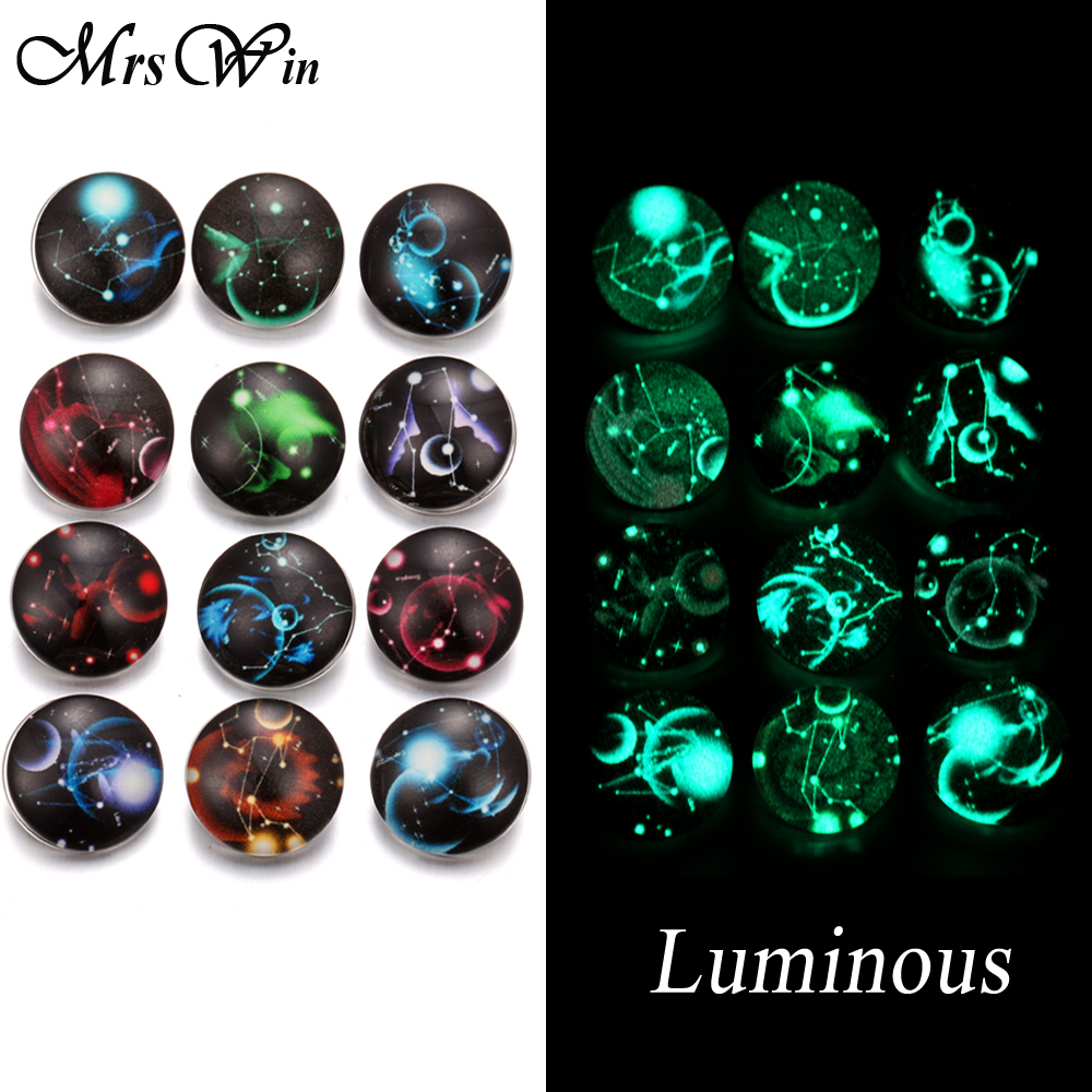 12Pcs/lot New Snap Jewelry Luminous 12 Constellation Zodiac Print Glass Snap Buttons fit 18mm Snap Bracelet Bangle Necklace image