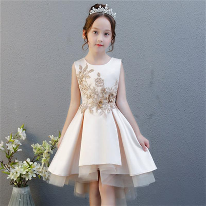 все цены на High quality children's dress princess dress birthday small flower girl girl host piano dance costume summer онлайн