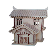 3D DIY Wood Assembling Toy Chinese Style Castle Model Jigsaw Puzzle Wooden Handmade Assembling Model Puzzle