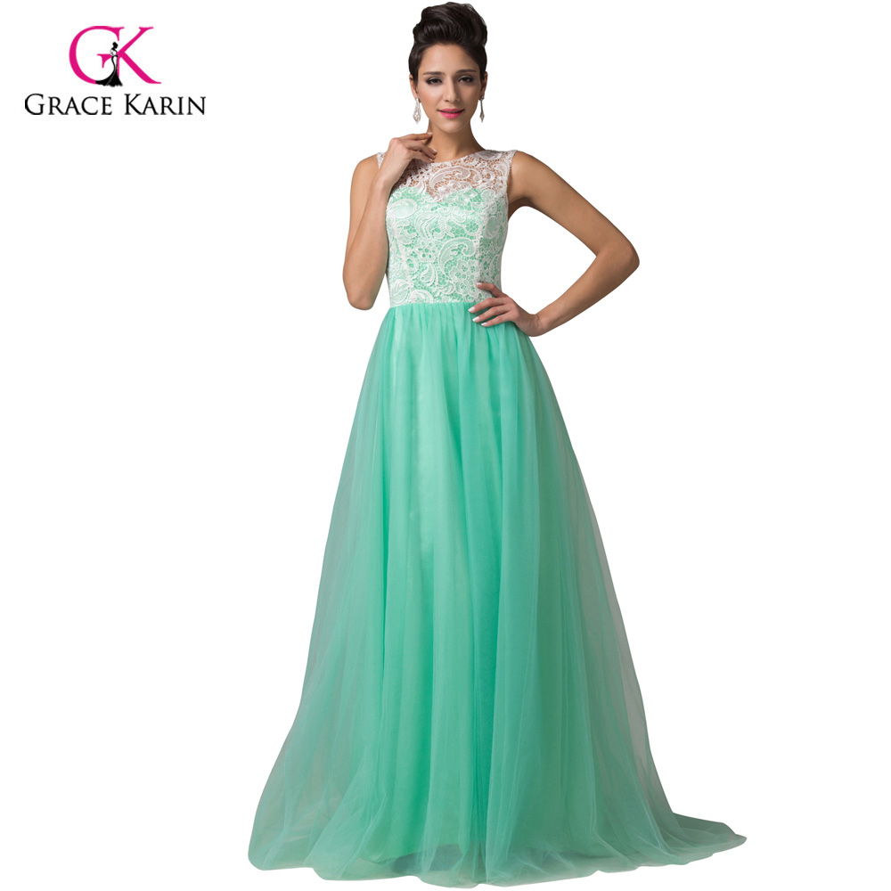 Grace Karin Long Lace Prom Dresses 2017 White Blue Black Green Pink ...