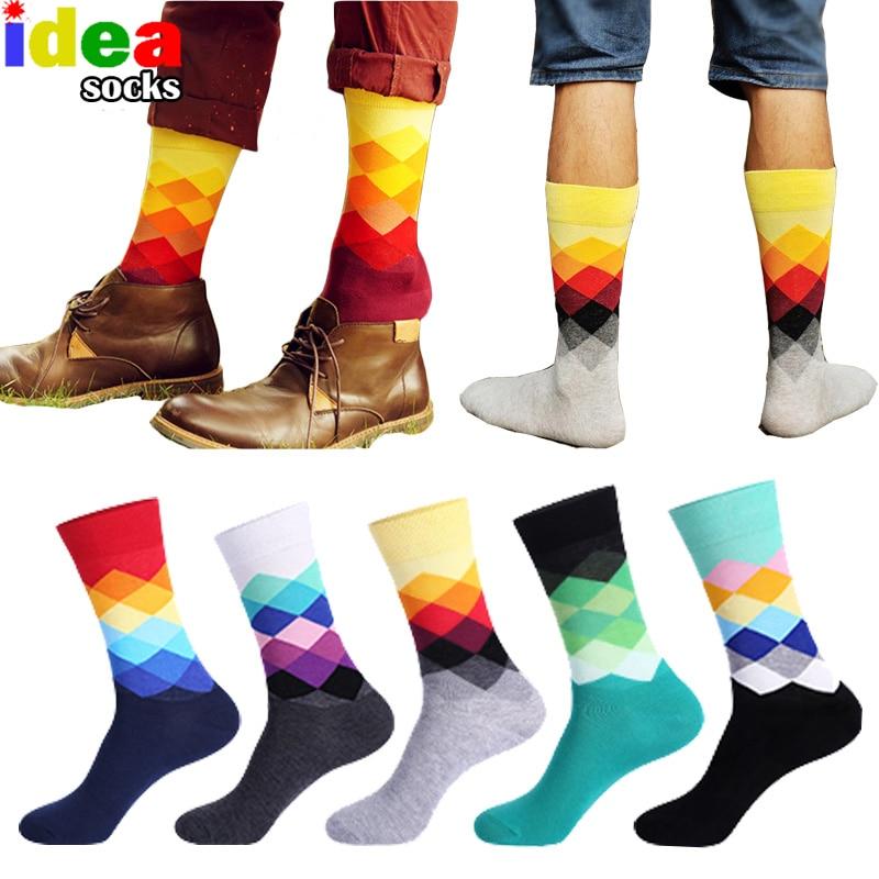 Casual Mens Cotton Colorful Geometry Socks Harajuku Gradient Color Business Dress Socks Diamond Plaid Long Socks Calcetines