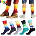 Homens casuais de algodão de meias felizes coloridos Harajuku gradiente de cor vestido de negócios meias xadrez diamante longo meias calcetines