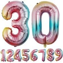 купить 32inch Foil Number Balloons 0 1 2 3 4 5 6 7 8 9 Digit Birthday 18 21 30th Anniversary Wedding Party Decoration по цене 68.39 рублей