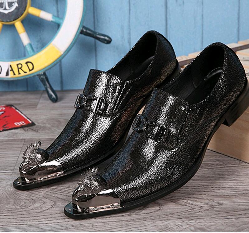 edd6b2ffb6b New Fashion Men Gold Wedding Shoes Patent Leather Prom Dress Shoes Metal  Pointed Toe Italian Oxfords Flats