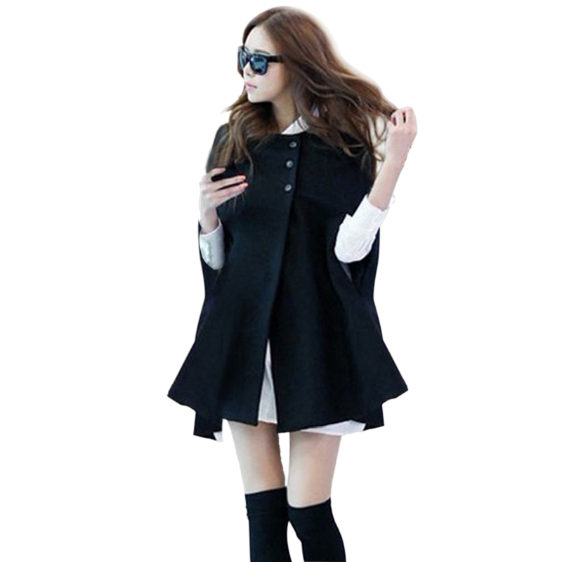 Autumn Woman Ladies Batwing Oversized Casual Winter Coat Jacket Loose Cloak Cape Outwear Black Big Outwear Coat