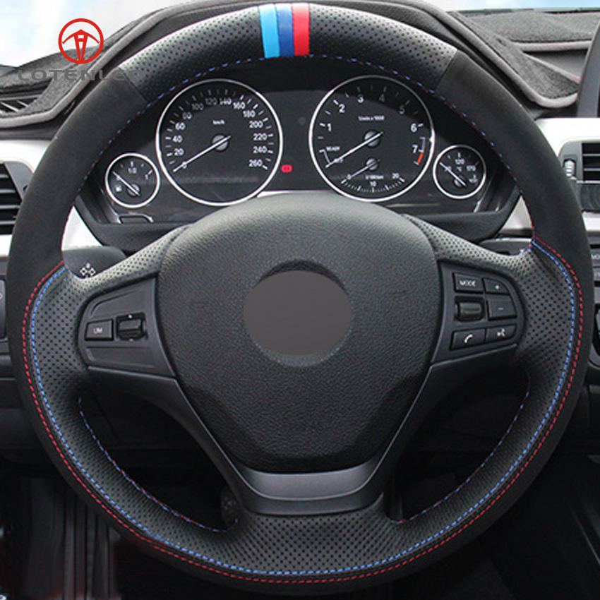 LQTENLEO Black Genuine Leather Suede DIY Hand stitched Car Steering Wheel Cover for BMW F30 320i