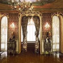 Vintage telones de fondo de fotografía para boda de puertas brillante ventana cortina Damasco candelabro de pared Interior del Palacio de fondo de foto