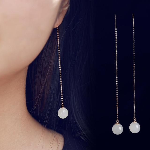 2020 Earings Fashion Jewelry National Wind Jade Beads Earrings 8 Mm Long Female With Certificate Of 18 K Rose Hetian Ear Wire  1