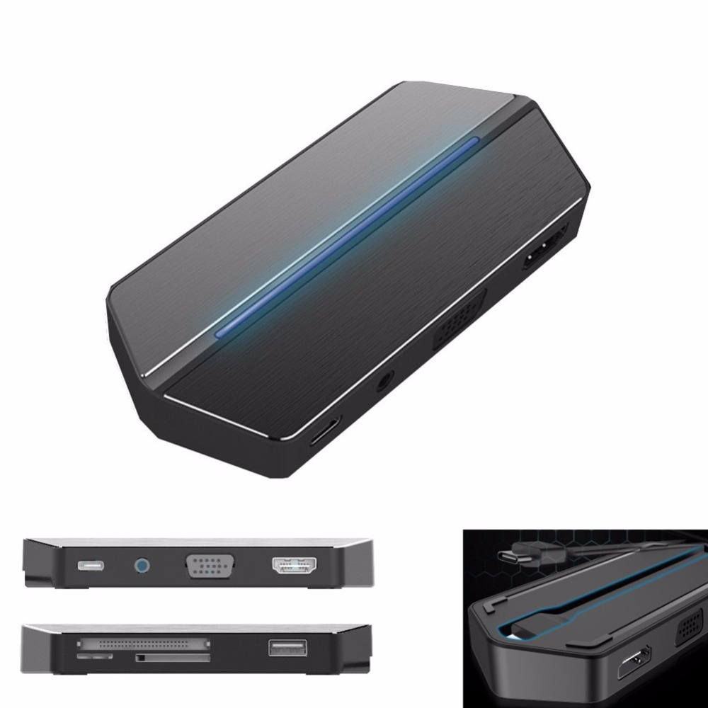 Type c Dock Box 8 In 1 Type-c Expansion Adapter USB-C Hub With USB Type-C 3.0 Hi-Speed Data Syncing HDMI Port SD/TF Card Reader usb adapter hdmi 4k usb 3 1 usb type c hub data syncing