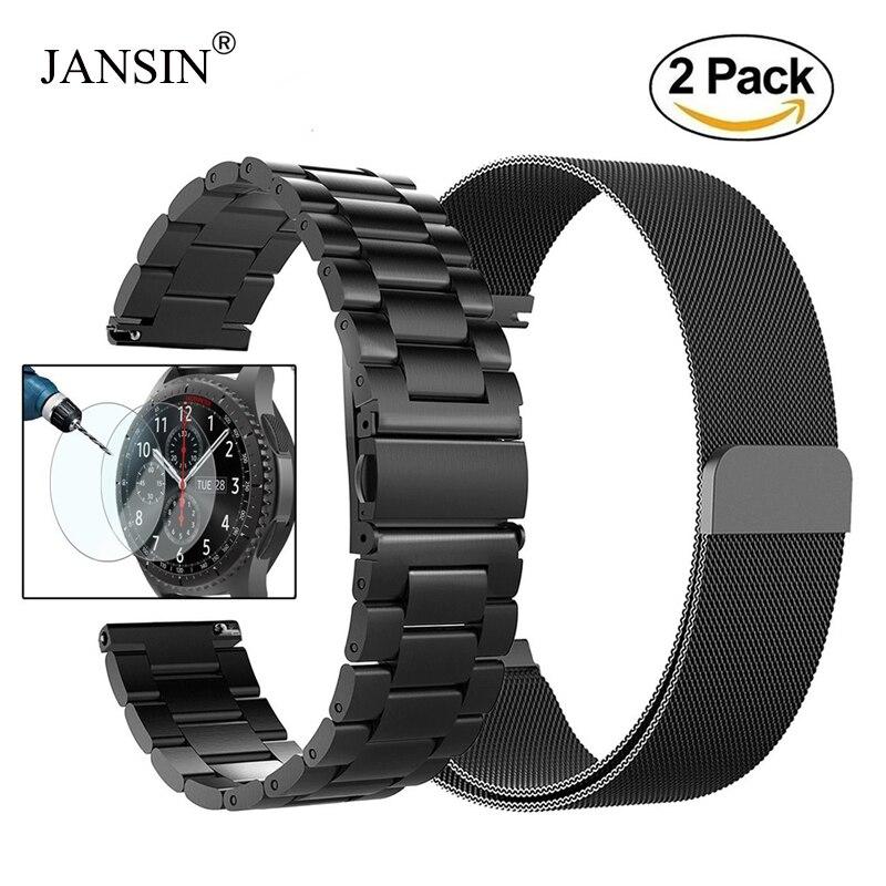 22mm Universal pulsera Milanese Loop banda para Samsung Gear S3 clásico/S3 frontera/galaxy watch 46mm inoxidable ajustable correa de acero