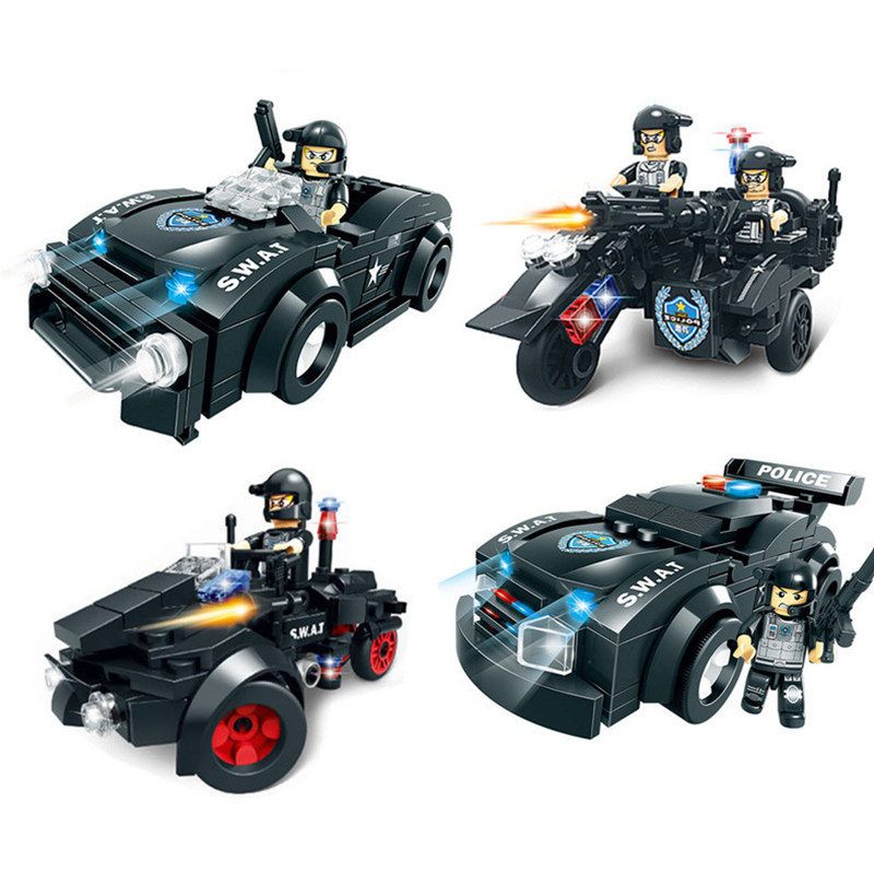 Military SWAT Models & Building Toy Boy Hobby City Police Figures and Car Bricks Blocks Educational Toys For Children phalanx original blocks educational toys swat police military weapons gun model city accessories lepin mini figures