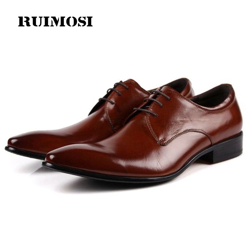 RUIMOSI Fashion Pointed Toe Man Formal Dress Shoes Genuine Leather Male Oxfords Italian Designer Men's Wedding Bridal Flats EH33