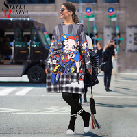 2017 Korean Style Autumn Women Plus Size Dress Long Sleeve Cartoon Printed Checker Cute Girl Midi