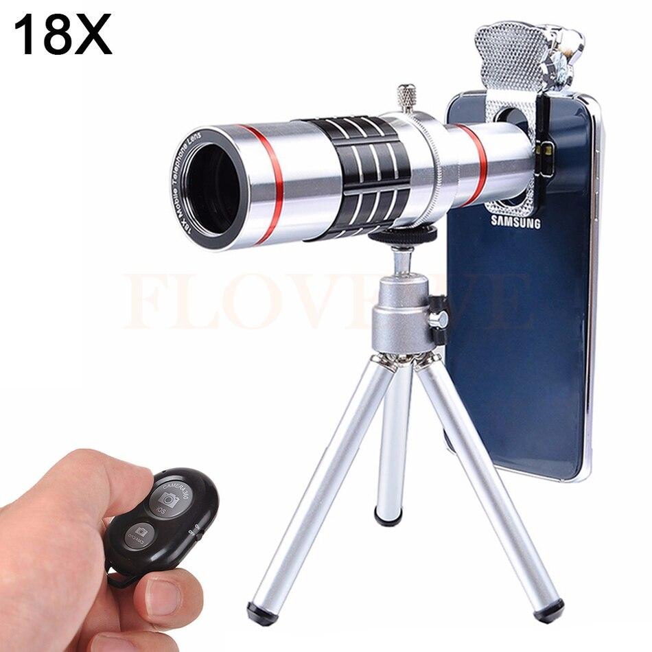 bilder für 7in1 Universal Clips 18X Optische Teleskop-objektiv Tele Zoom Objektiv Bluetooth Shutter mit Stativ Für iPhone 5 S SE 6 6 S 7 8 PLUS