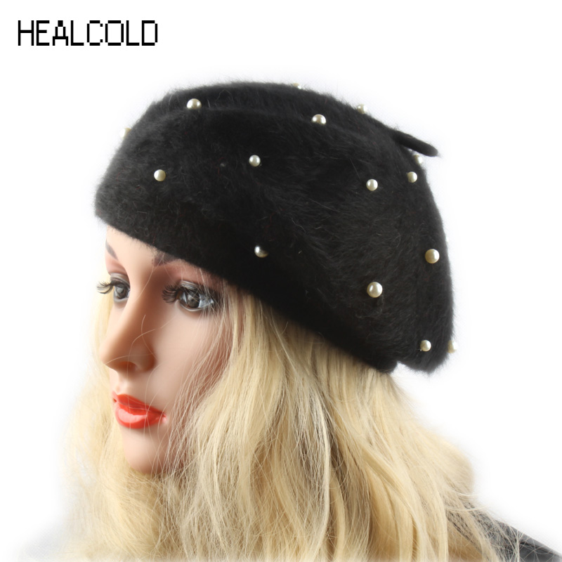 HEALCOLD Winter Autumn Female Knitted Beret Rabbit Fur Hat Pearl Decoration Womens Berets Caps