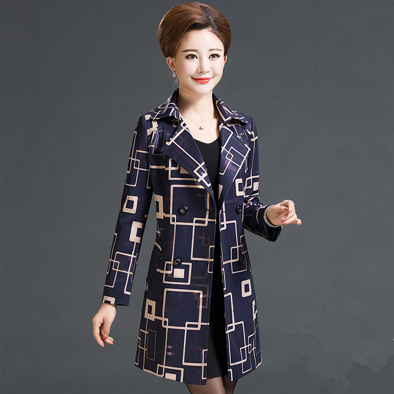 Spring Autumn Women   Trench   Coat Middle-aged Fashion Double Breasted Printing Windbreaker Slim Women Outwear