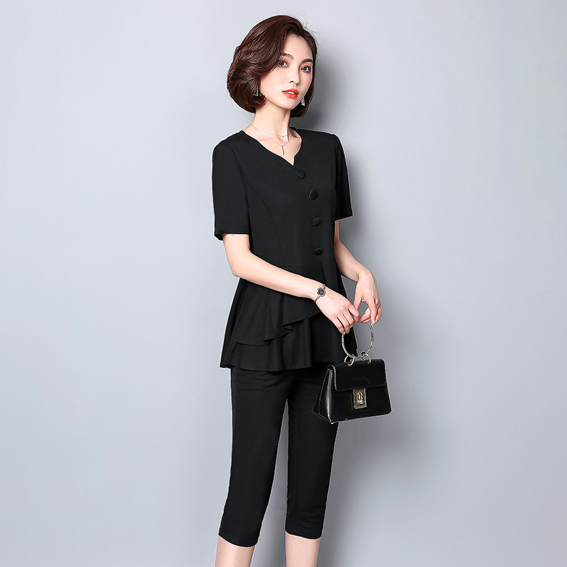 Summer Black Two Piece Sets Women Plus Size Short Sleeve Tops And Cropped Pants Sets Suits Casual Office Elegant Women's Sets 26