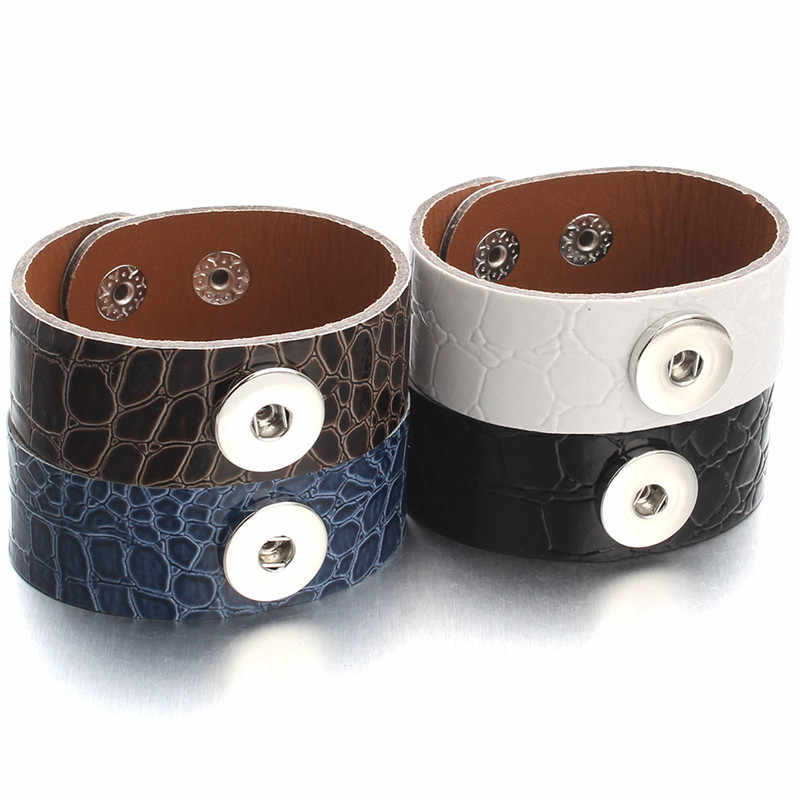 Fashion Leather Snap Jewelry Retro Punk Wide Snap Button Braeclet Bangles Fit 18mm DIY Snaps For Women Men