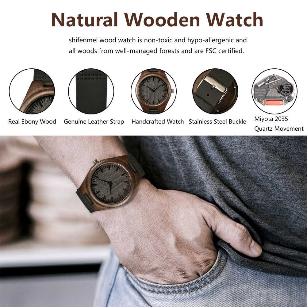 SFMEI S5520 relojes de madera de cuarzo para hombre, reloj de pulsera de madera de ébano grabado negro, enlaces de reloj Causal