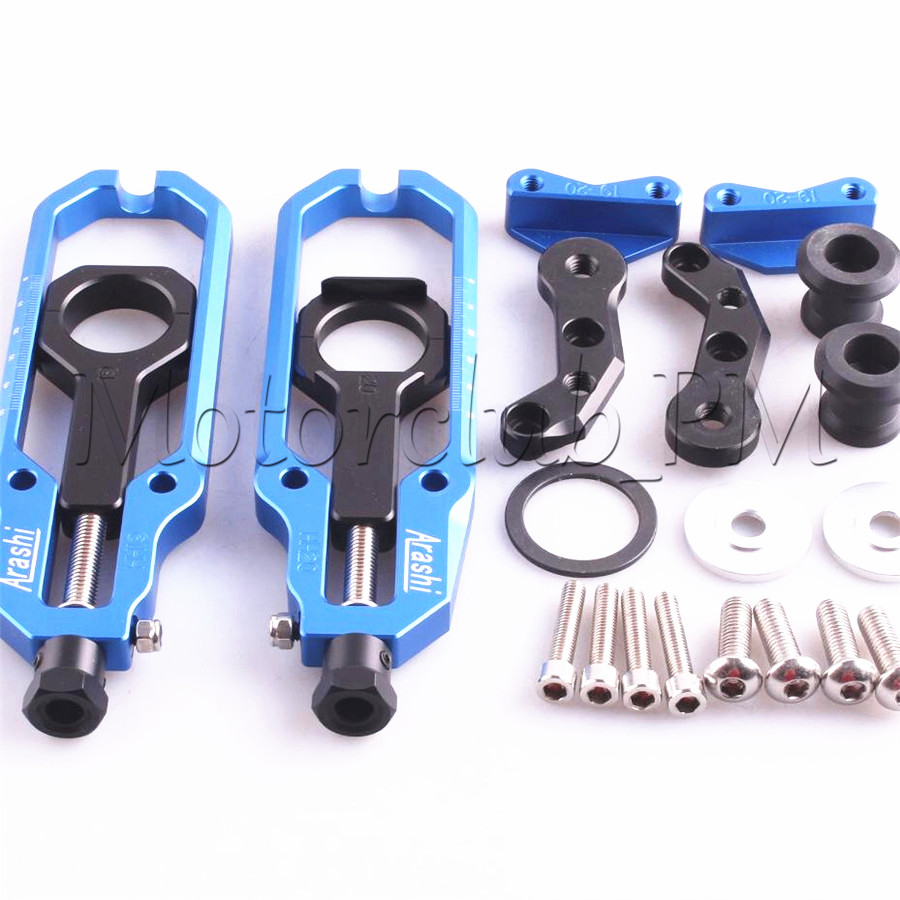 Motorcycle New Aluminum Chain Adjuster Tensioner With Spool For Suzuki GSXR1000 2009-2013 2010 11 2012 Blue motorcycle chain tensioner adjuster with spool fit for yamaha r1 yzf r1 2007 2008 2009 2010 2011 2012 2013 2014 red