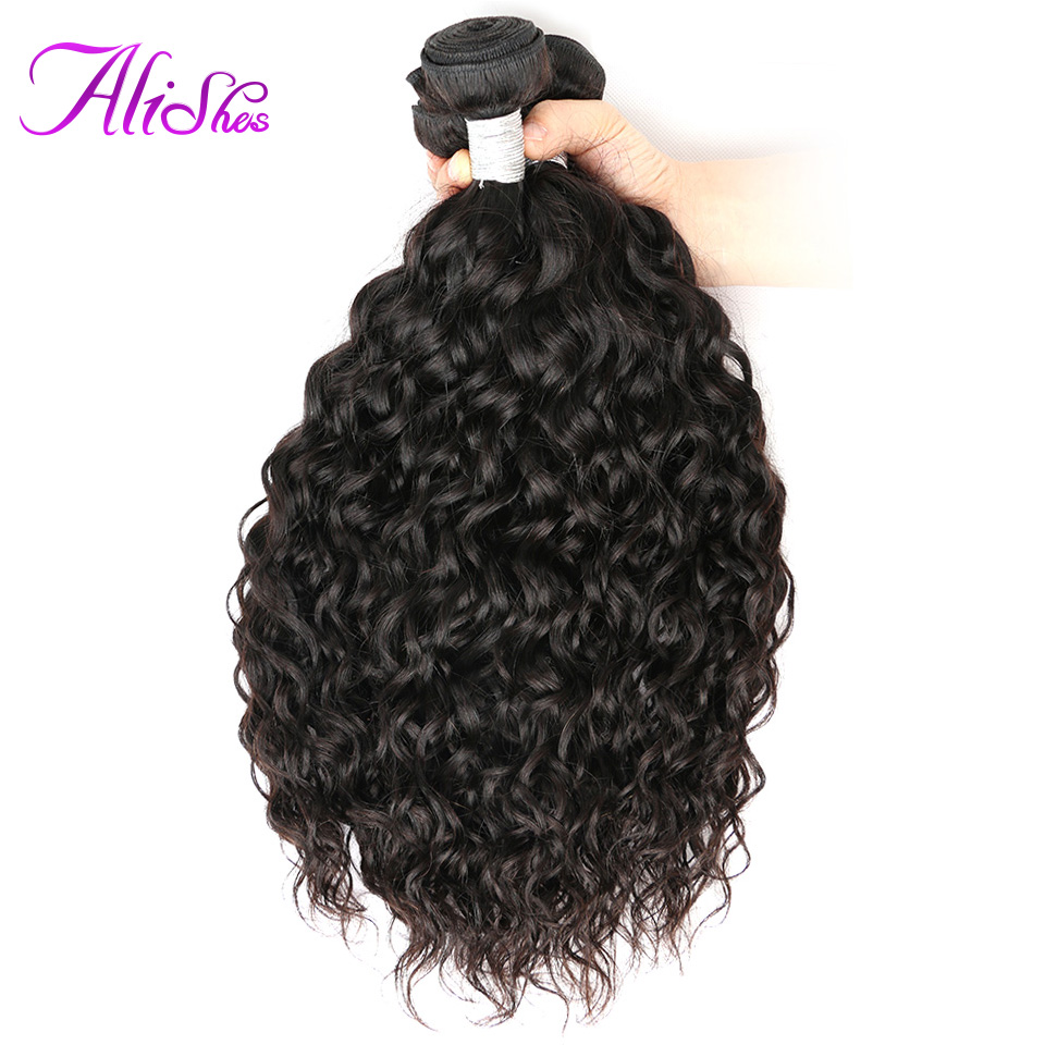 "Alishes Hair 3PCS/LOT Brazilian Water Wave Bundles Mixed 8""-28"" Human Hair Weave Bundles Natural Color Non Remy Hair Can Be Dyed"