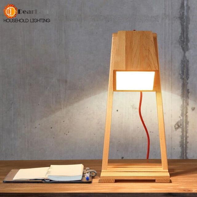 Modern Wooden Study Reading Led Table Lamps Indoor Desk Bedside
