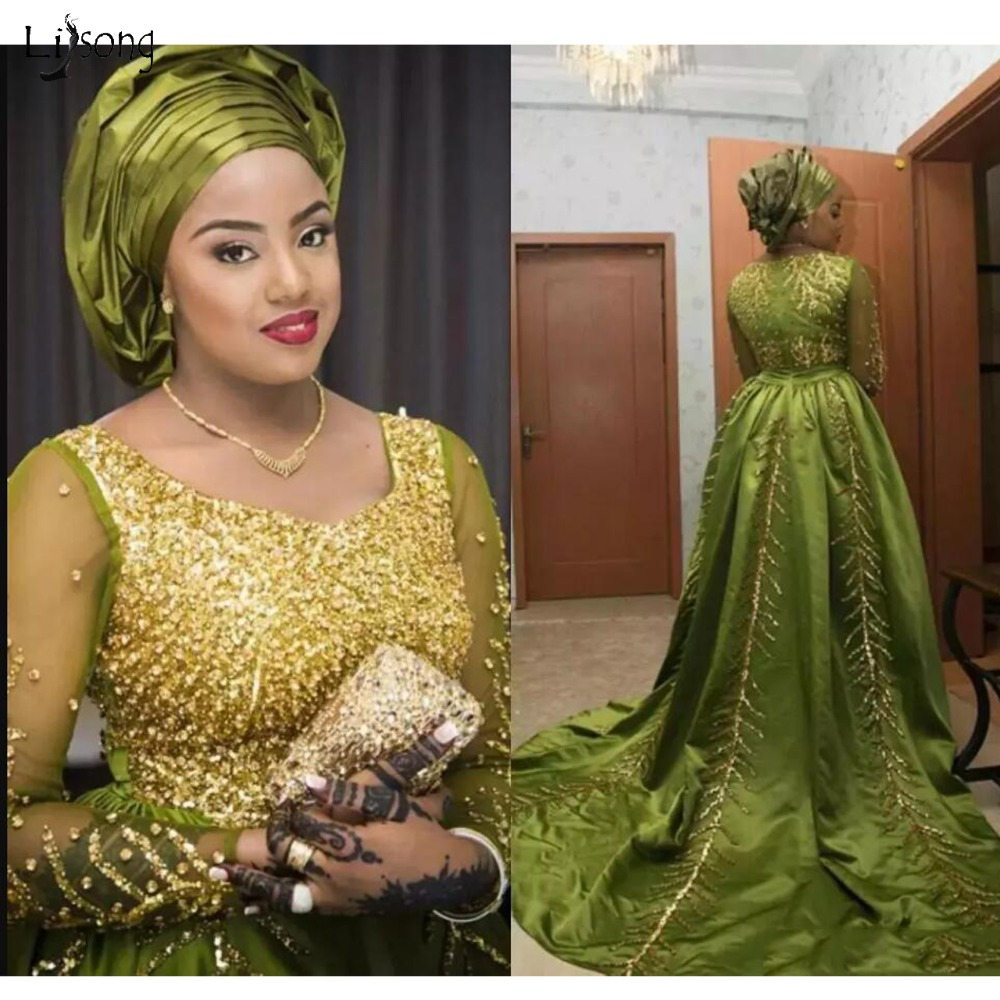 Luxury Crystal Nigeria Olive Prom Dresses Full Sleeves Beaded Sequined A-line Formal Evening Party Dress Aso Ebi Prom Gowns