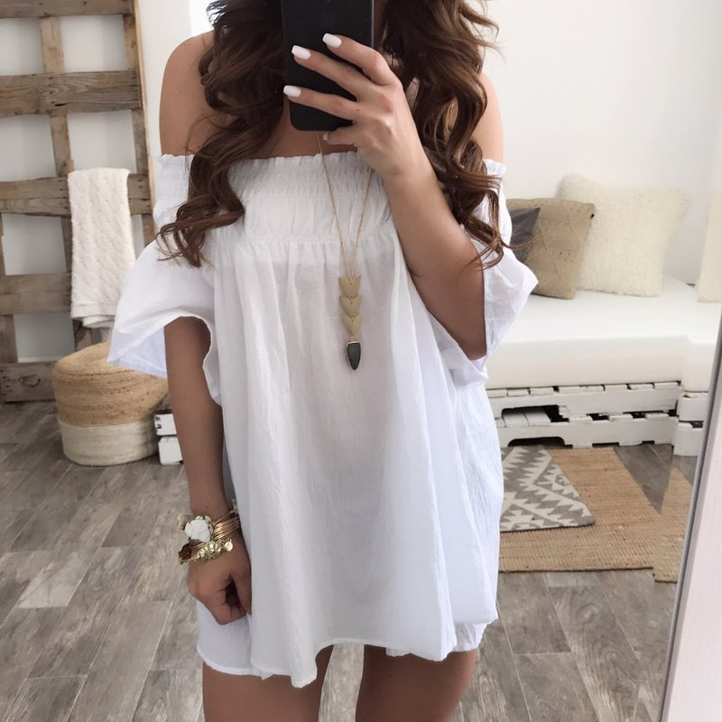 2018 Summer New Women's Dress One Shoulder White Horn Short-sleeved Dress Sexy Knee Above Mini dress Women Hot Dresses