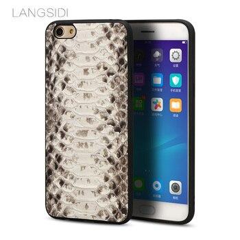Wangcangli brand mobile phone case natural python skin phone cover For OPPO R9 Plus full handmade custom processing
