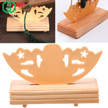 WHISM Folding Chinese Style Wooden Fan Stand Display Base Holder Home Decor Living Room Decoration Figurines Miniatures