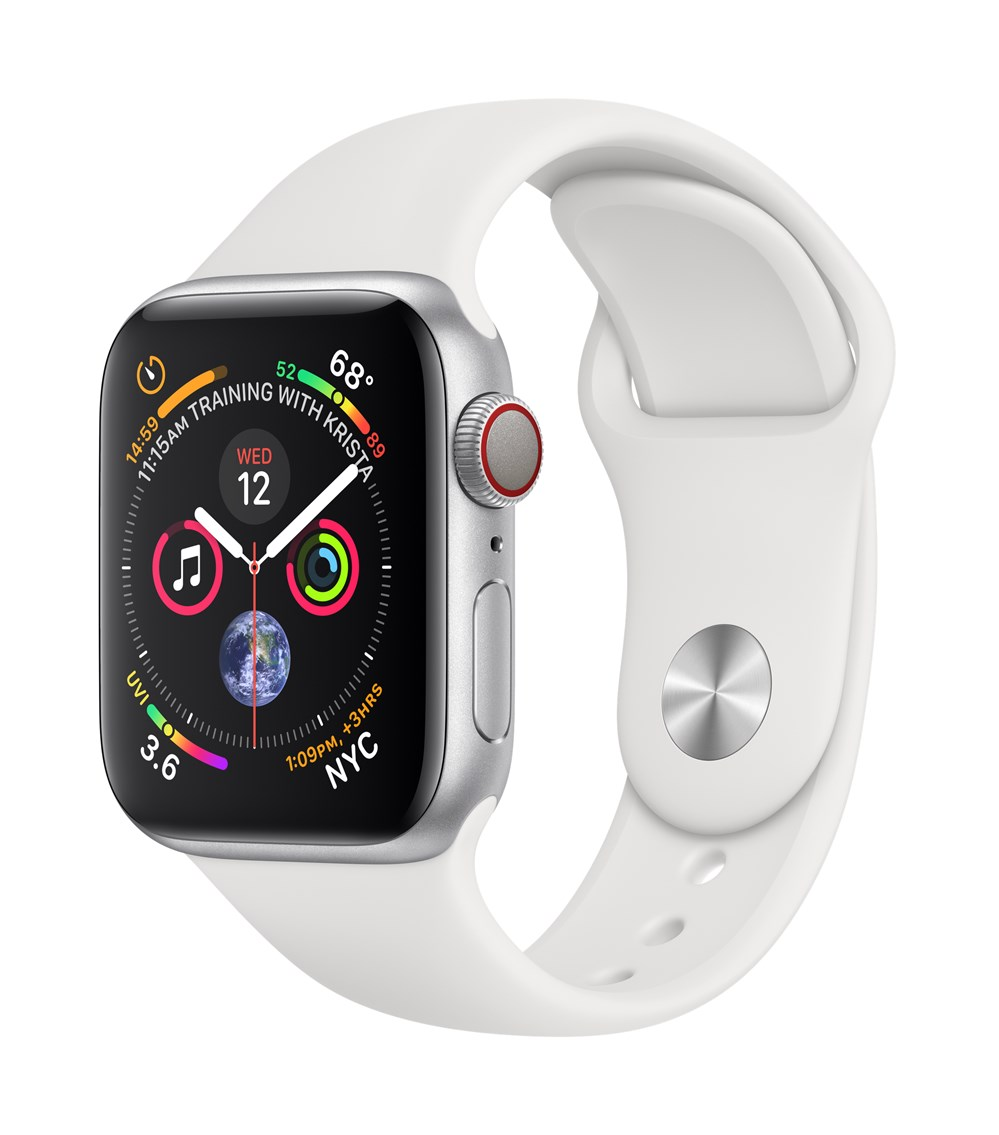 Apple Watch Watch Series 4, OLED, Touchscreen, GPS (satellite), Cellular, 30.1 g, Silver