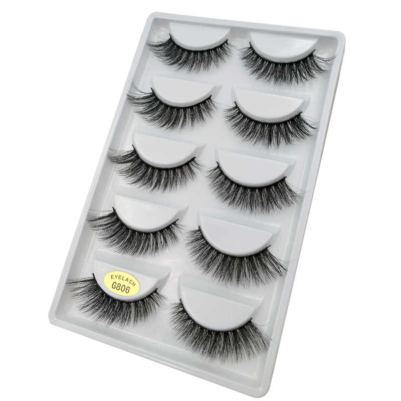 26c75c79faa ... 5 pairs 100% Real Fake Mink Eyelashes 3D Natural False Eyelashes 3d  Mink Lashes Soft ...