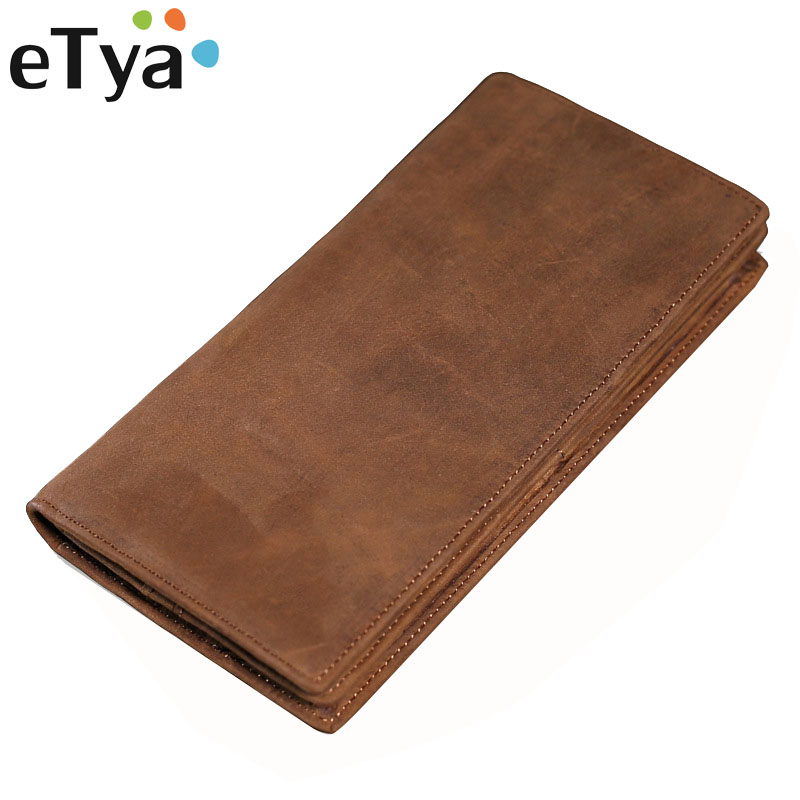 eTya Genuine Leather Men Wallet High-Capacity Multi-Card Bit Long Wallet Clutch Mens Vintage Business Wallets Money Pouch