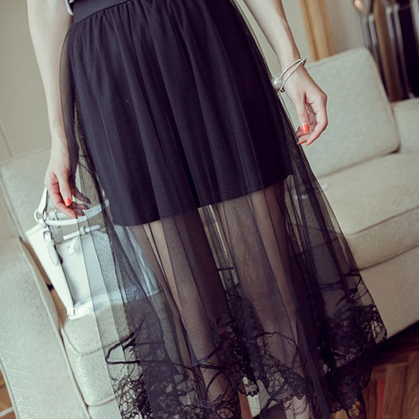 c5d4a6bd25ea Fashion Casual Women Ladies Skirts High Waist Sheer Gauze Mesh Tulle Lace  Skirts Dots Gothic Straight Long Maxi Skirt Black