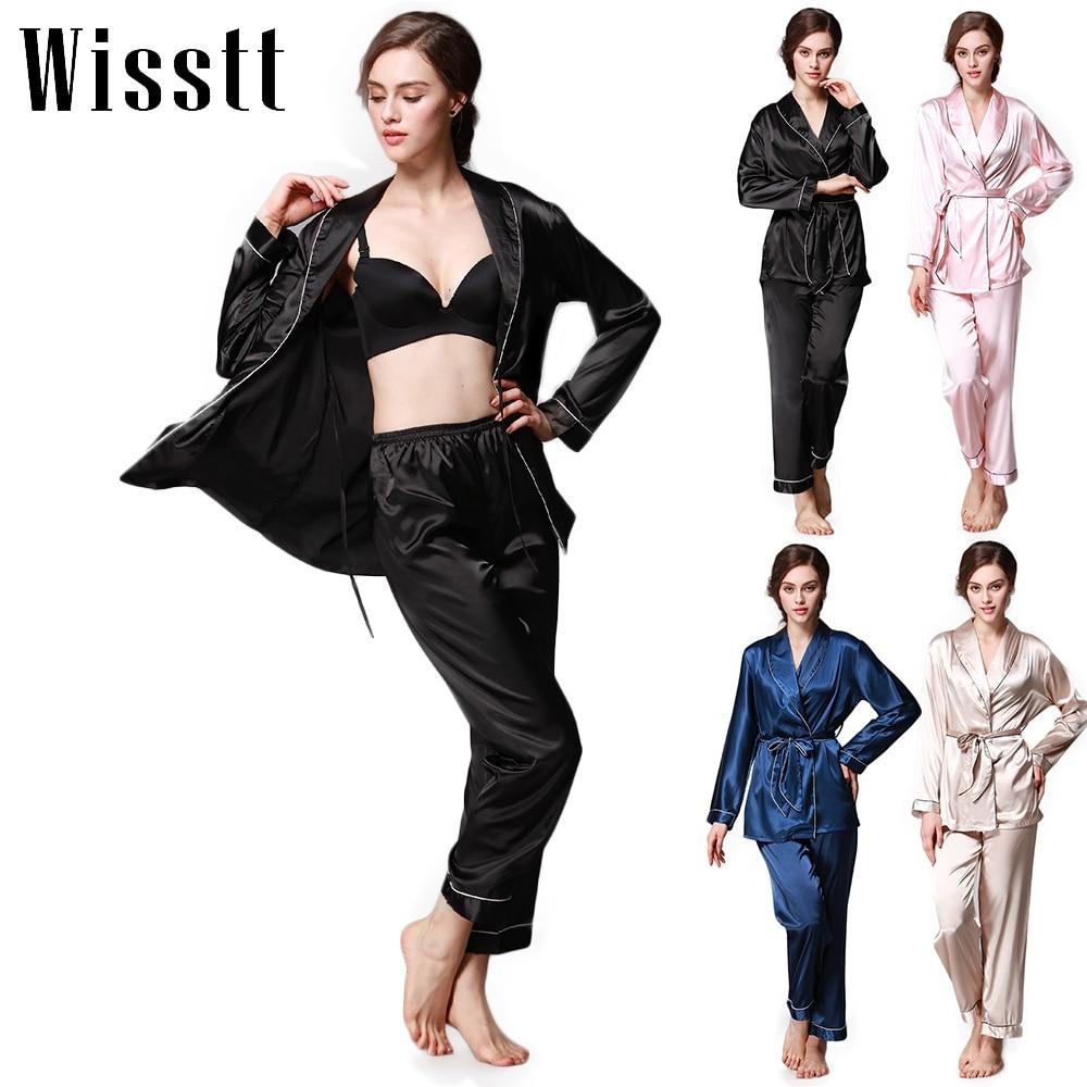 Sleepwear Silk Pajamas Set Spring Autumn Length Pants Leisure Lounge Set Women Champagne Pajamas M,L,XL