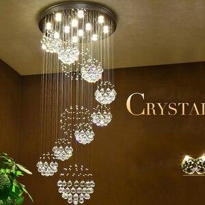 Image 2 - Yeni modern öğe Dia800 * H3000MM büyük modern otel avize kristal merdiven ışık