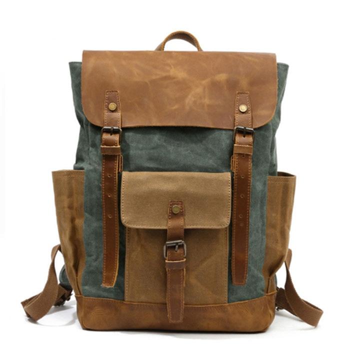 Fashion armygreen grey Backpack Canvas men backpack School Bag Military Backpack Women Rucksack male Knapsack Bagpack mochila