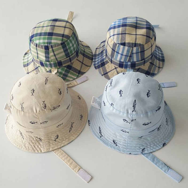 078a5d8c7 New Kids Foldable Fish Printing Plaid Bucket Hat Two Side Reversible Wear  Animals Fishing Hat Child Bob Caps Sun Protection A1