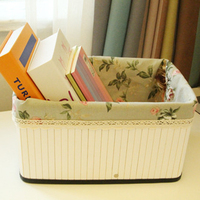 Nature Woven Basket Storage Box Rect Foldable Bamboo Clothes Storage Basket Fabric Inside Garden Style Cosmetics